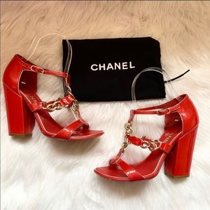 Authentic CHANEL CC Logo Chain Patent Sandals